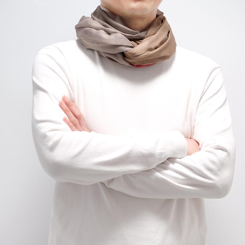 メンズストール イタリア製【モカレッド・ロッチャ】66cm幅*205cm 長方形/男性におすすめ春夏ストール・秋ストール