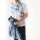 メンズストール サマーボーダー【ブルー】シボ感のある柔らかな肌触り/イタリア製 58*180cm 春夏ストール