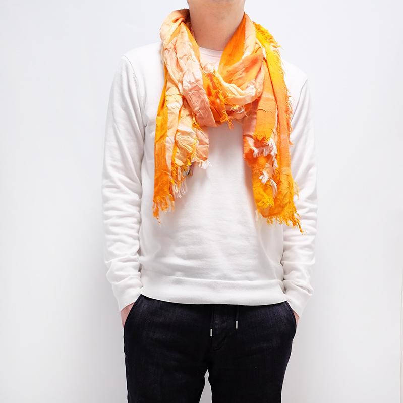大判ストール むら染めブロックチェック【オレンジ】男性女性兼用デザイン/イタリア製 80*180cm 1年中使えるストール