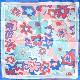 スカーフ イタリア製【ブルー・ビオージェノ】88cm正方形/春夏スカーフ・1年中使える正統派シルクツイル