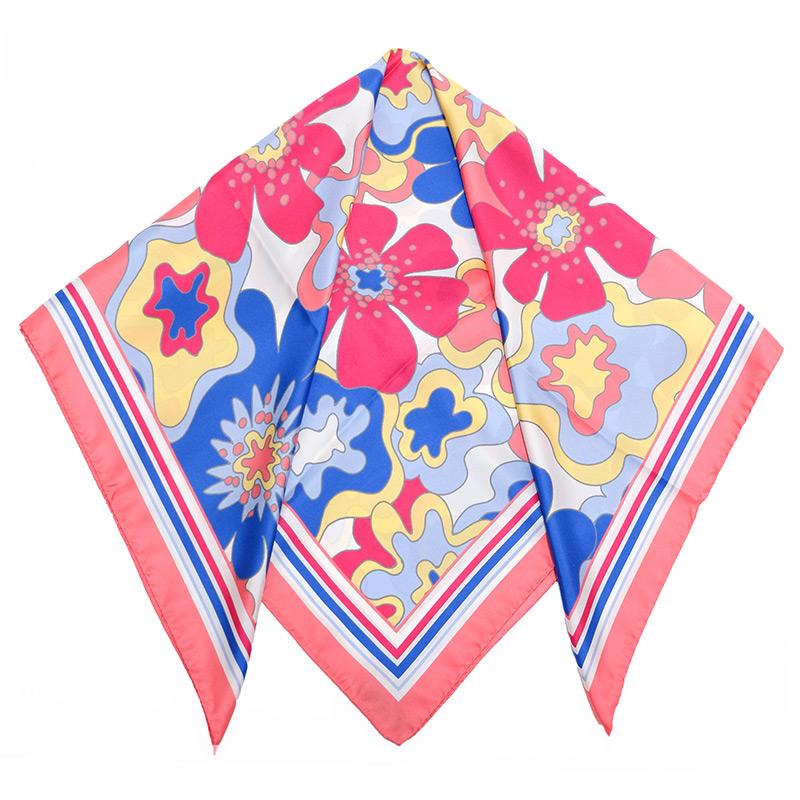 スカーフ イタリア製【ピンク・ビオージェノ】88cm正方形/春夏スカーフ・1年中使える正統派シルクツイル