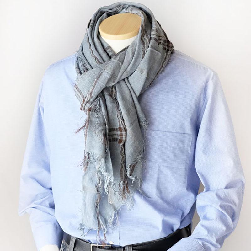 メンズストール デニムのように馴染むムラ染め【ウォッシュブルー】コートに似合う大判/イタリア製 85*185cm 1年中使えるストール