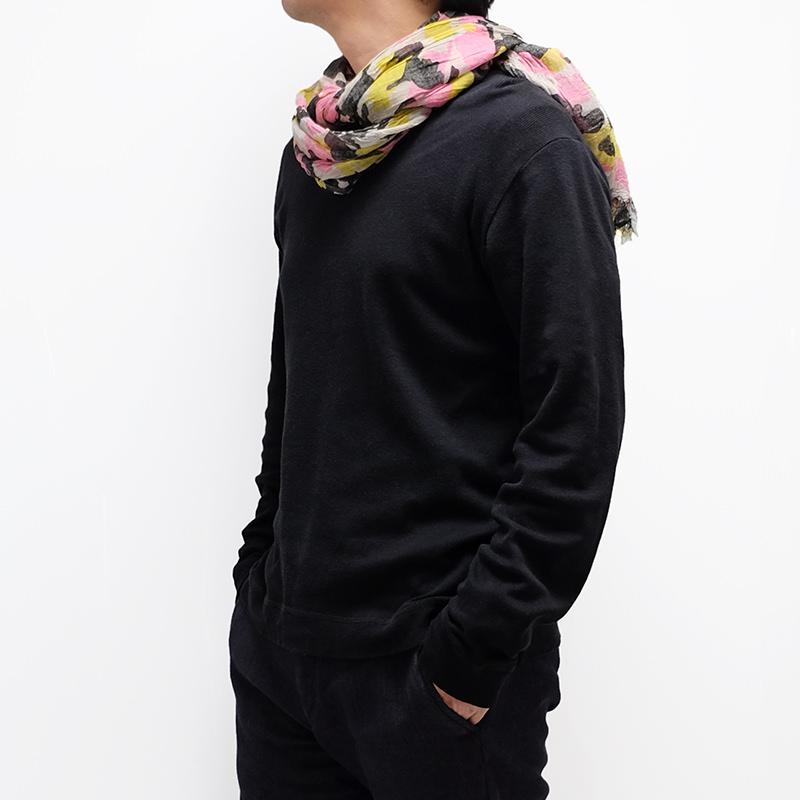 メンズストール ムラ染めカモフラージュ【グレーMIX】迷彩プリント イタリア製 55*180cm