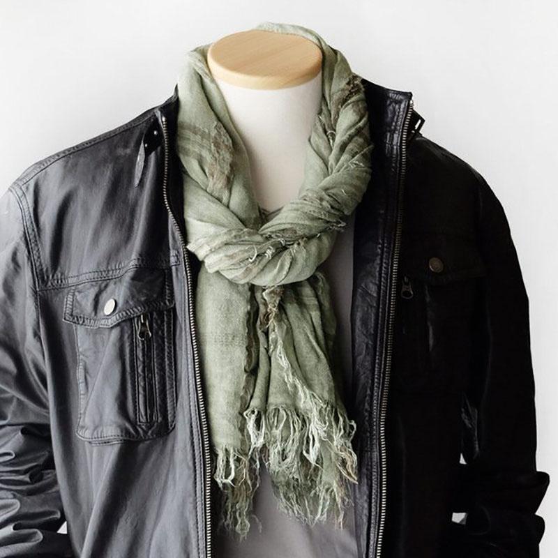 メンズストール デニムのように馴染むムラ染め【ウォッシュグリーン】コートに似合う大判/イタリア製 85*185cm 1年中使えるストール