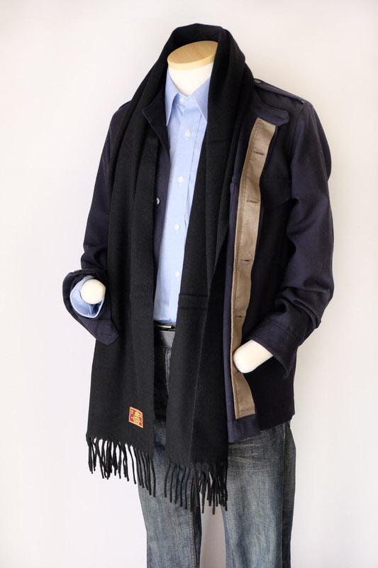 メンズマフラー【無地・ブラック】ウール混・イタリアの男性用マフラー 39cm幅*200cm/冬の防寒・通勤通学に