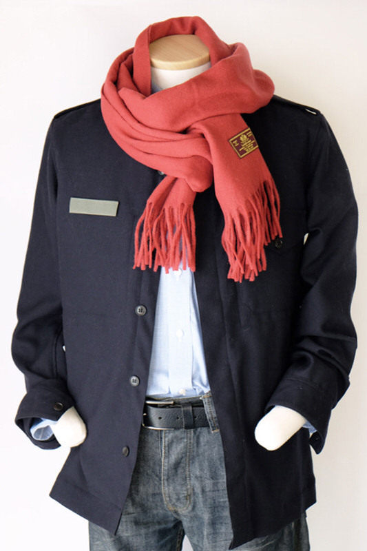 メンズマフラー【無地・レッド】ウール混・イタリアの男性用マフラー 39cm幅*200cm/冬の防寒・通勤通学に