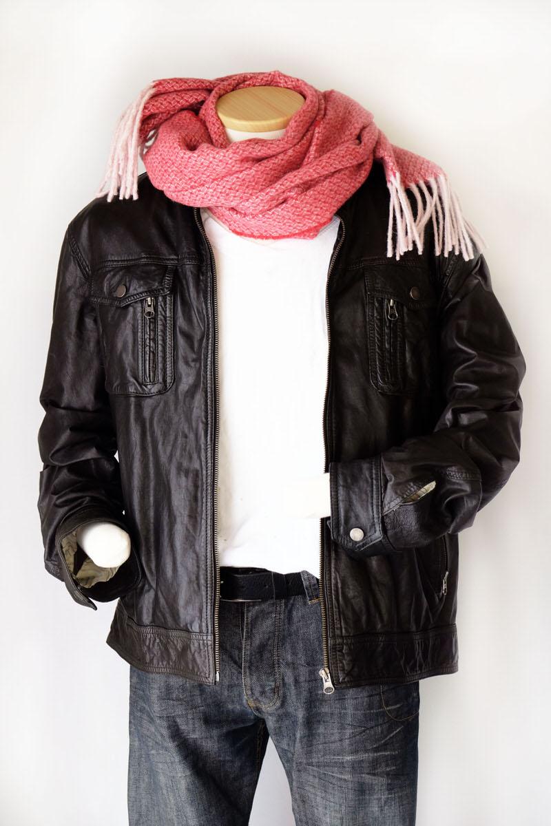 メンズマフラー【ドット・レッド】ウール混 イタリアの男性用マフラー 38cm幅*196cm/冬の防寒・通勤通学におすすめ