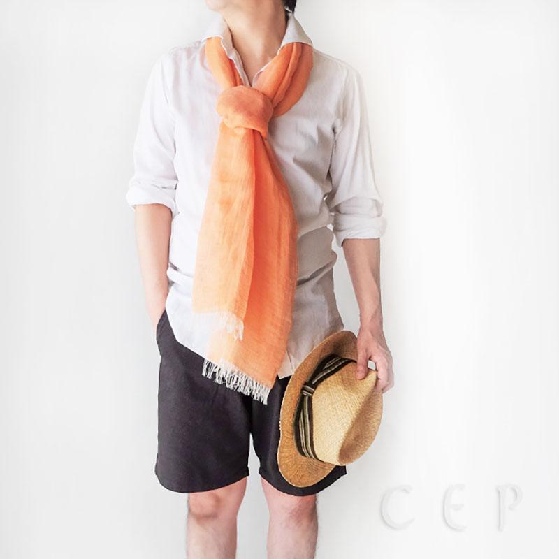 メンズストール 無地【オレンジ】自然素材のリネンコットン・さらさらシンプル/イタリア製 40*200cm 春夏ストール