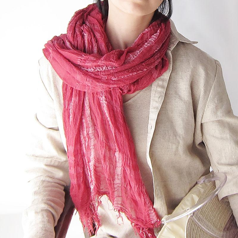 柔らかロングストール【フューシャピンク】シワ加工・ジャケットに似合う/イタリア製 75*200cm 1年中使えるストール