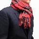 メンズマフラー【チェック・レッド】ウール混・イタリアの男性用マフラー 32cm幅*170cm/冬の防寒・通勤通学におすすめ