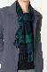 メンズマフラー【チェック・ネイビーグリーン】ウール混・イタリアの男性用マフラー 32cm幅*184cm/冬の防寒・通勤通学におすすめ