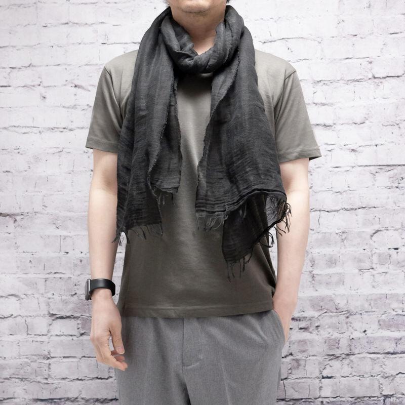 メンズストール/無地ワッシャータイプ【ブラック】リネンコットン 肌触りの良い天然素材/イタリア製 40*190cm 春夏ストール