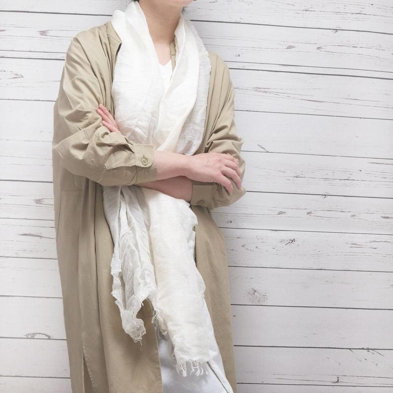 サマーストール 無地【ホワイト】自然素材のリネンコットン・さらさらシンプル/イタリア製 40*200cm 春夏ストール
