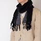 メンズマフラー【ブラック/グレー】リバーシブルウール混・イタリアの男性用マフラー 30cm幅*170cm/冬の防寒・通勤通学におすすめ