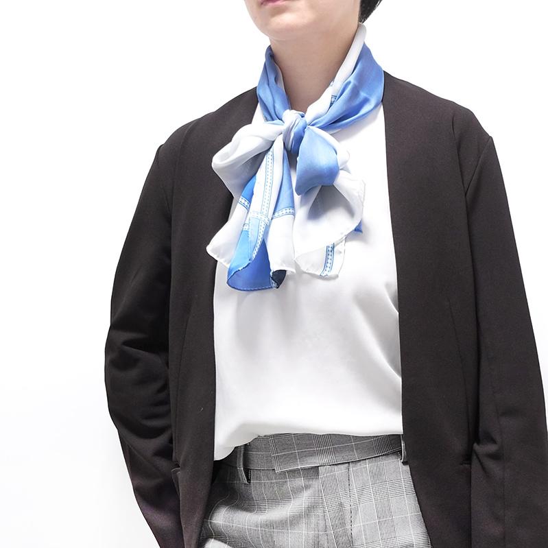 ストール イタリア製【ペルレ・ブルー】43cm*175cm 長方形ストール 春夏・母の日ギフトに/シルク羽二重・パールのような気品と輝き