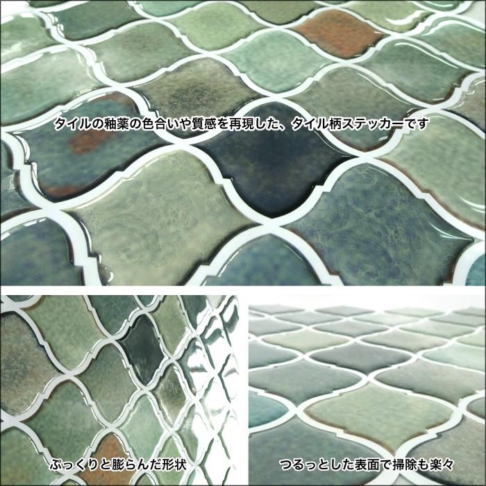 【壁に貼ってはがせる】コラベルタイル アンティークグリーン  タイル柄がリアルなウォールステッカー