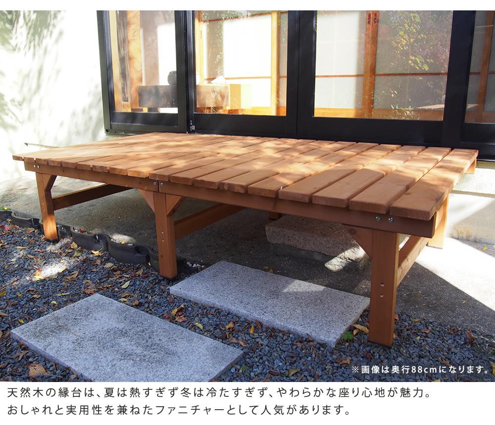 ウッドデッキ 簡単組立 縁側 DIY 天然木製 庭 ベランダ(ユニット縁台ベンチhiyoriプランターセット幅174・奥行88)メーカー直送代引き不可・送料無料