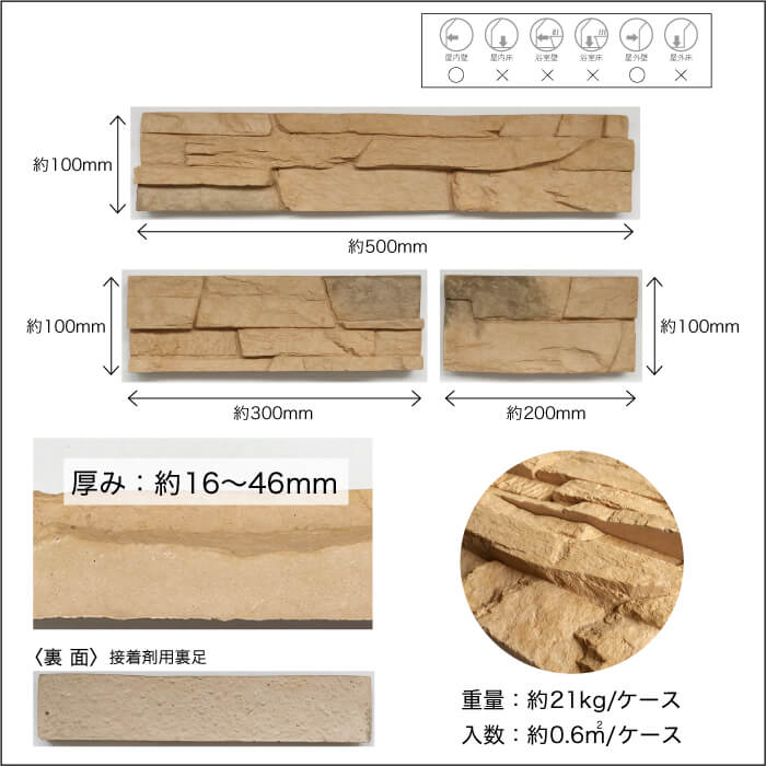 【セメント系擬石調】石積み風壁材コアスタック ダークベージュ ケース販売(0.6m2/ケース)