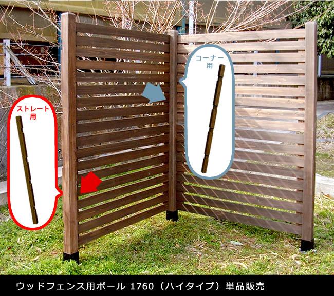 外構フェンス 連結ポール 木製 ウッドフェンス カントリー調 柵 仕切り(ウッドフェンス用ポール1760/ハイタイプ単品販売)メーカー直送・代引き不可