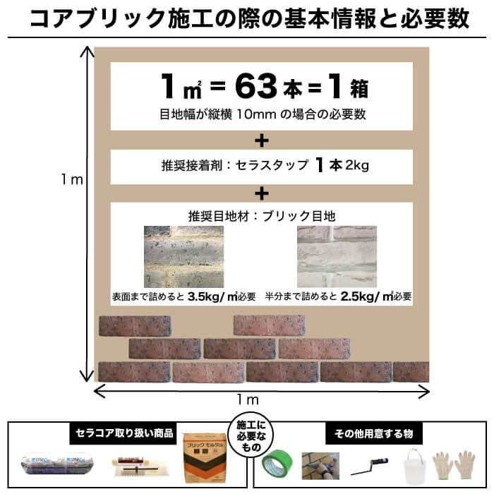【レンガ調ブリックタイル】コアブリック 全色 バラ販売
