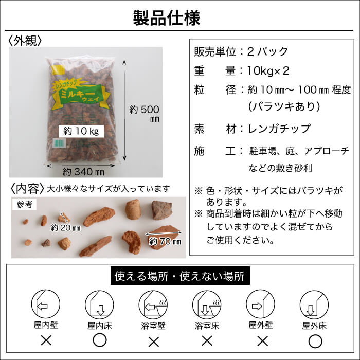 【送料無料レンガチップ】レンガチップミルキーウェイ 10kg×2袋セット