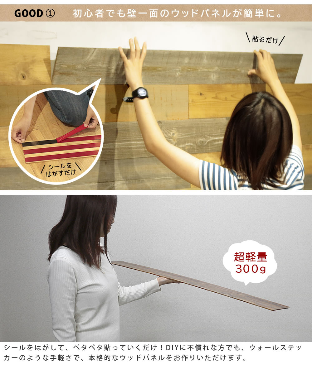 【ウッドパネルシールタイプ】 壁木材(ウッドパネルプレミアム オークナチュラル10枚組 約1.5m2)