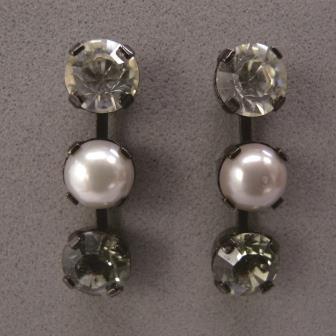 送料無料,ピアス,013,パール,クリスタル,ブラック,earrings,pearl,black,アクセサリー