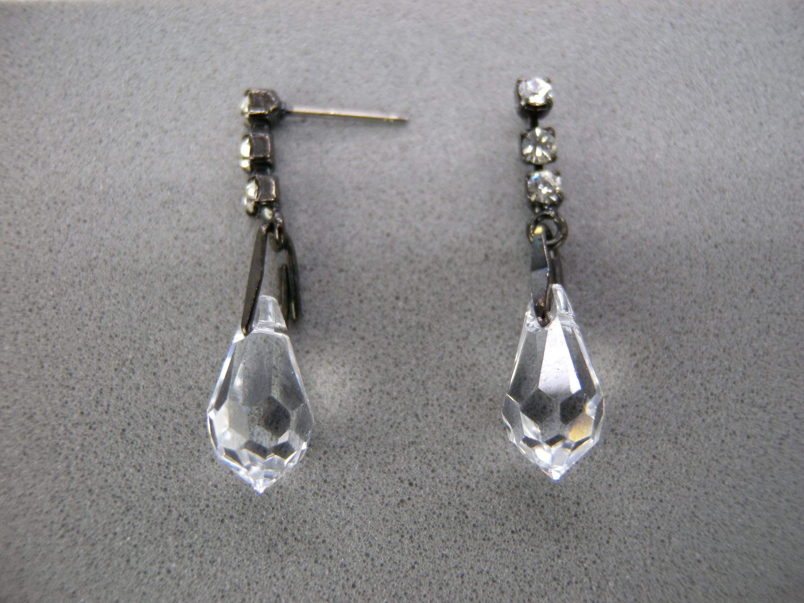 送料無料,ピアス,006,クリスタル,ブラック,earrings,cristal,アクセサリー