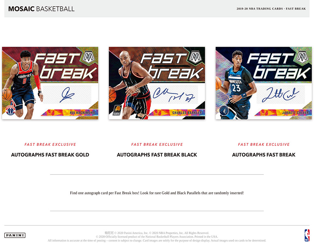 NBA 2019-20 Panini Mosaic Basketball Fast Break 5/22入荷