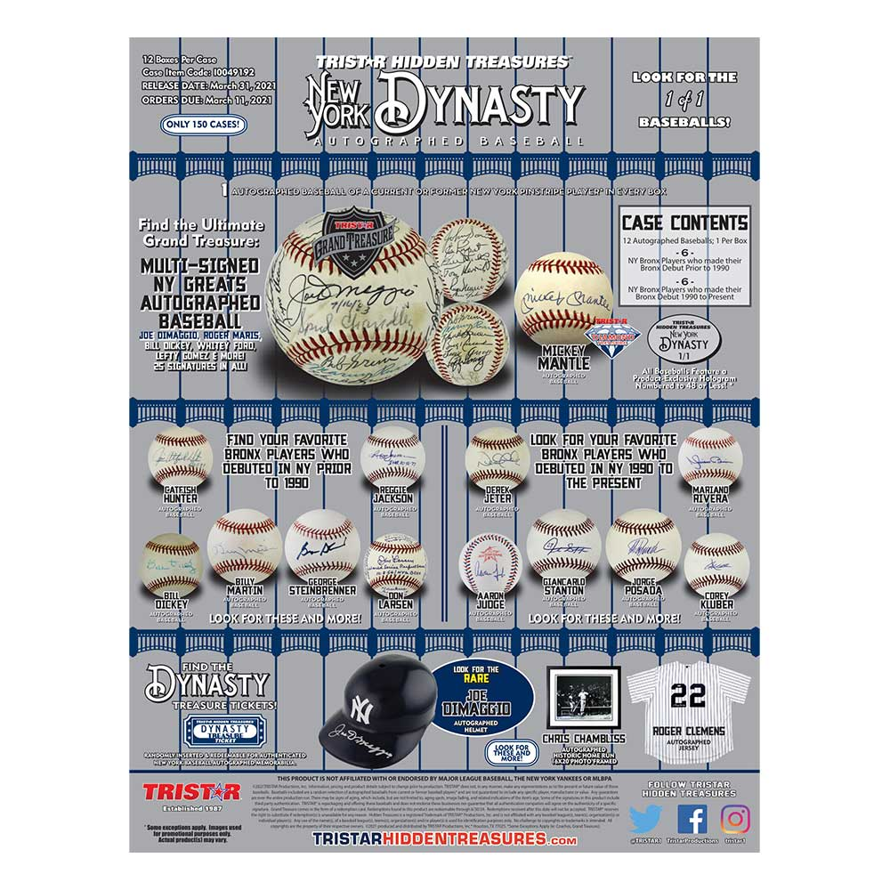 2021 TRISTAR Hidden Treasures Autographed Baseball New York Dynasty Edition ボックス(Box) 4/6入荷