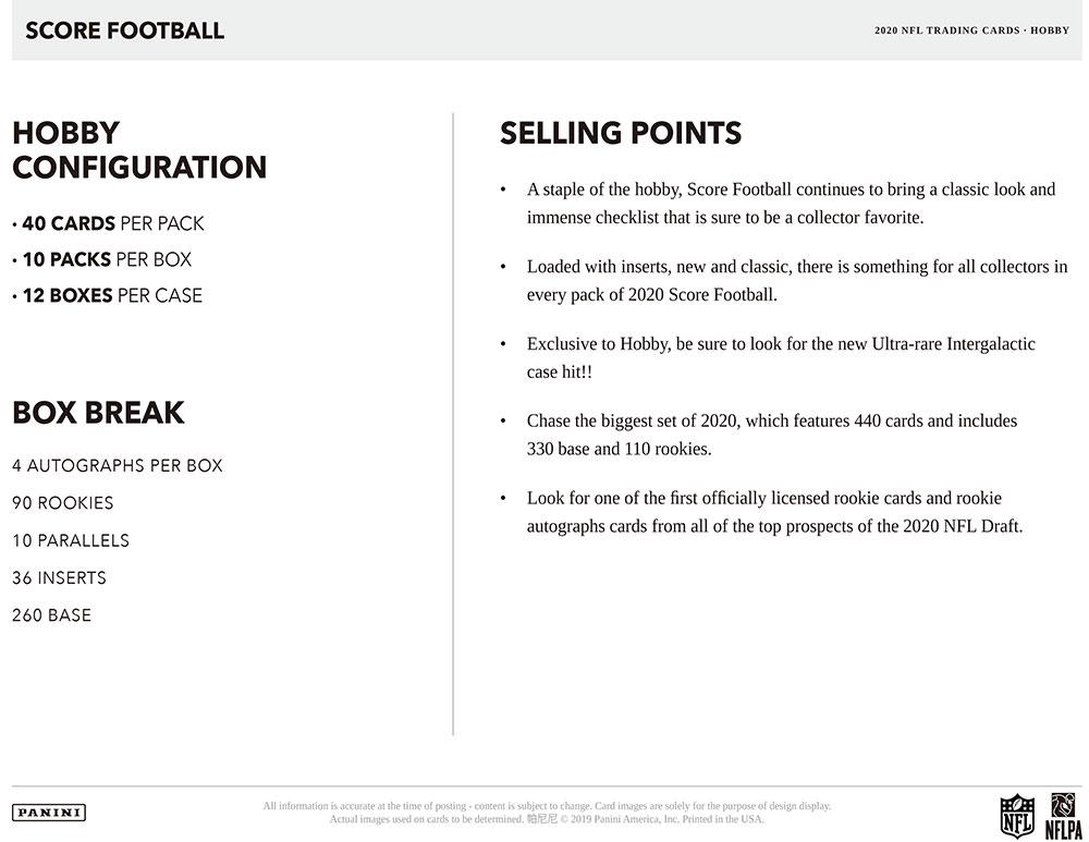 NFL 2020 Panini Score Football 6/5入荷