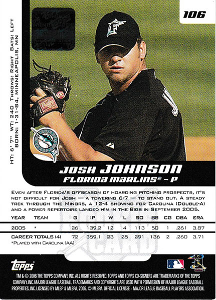 ジョシュ・ジョンソン 2006 Topps Co-Signers Autographs / Josh Johnson