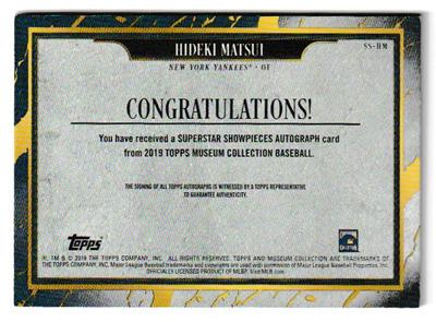 松井秀喜 MLBカード 2019 Topps Museum Collection Superstar Showpieces Autographs 21/25