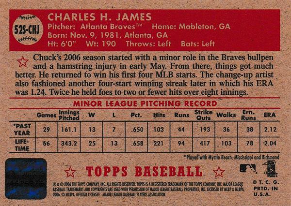 チャック・ジェームズ 2006 Topps '52 Signatures / Chuck James