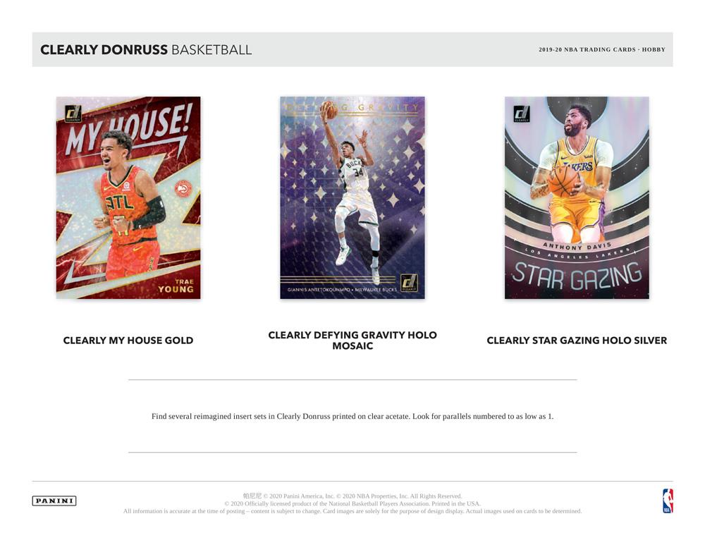 NBA 2019-20 Panini Clearly Donruss Basketball 11/4入荷!