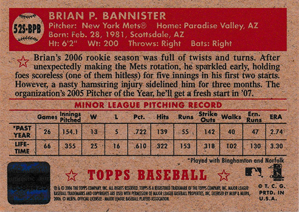 ブライアン・バニスター 2006 Topps '52 Signatures / Brian Bannister