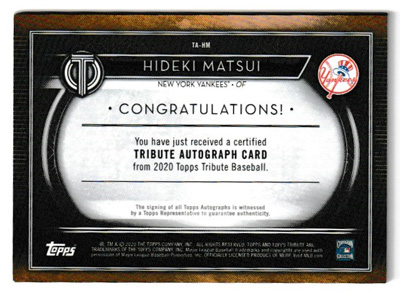 松井秀喜 MLBカード 2020 Topps Tribute Autographs 13/25
