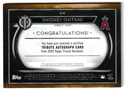大谷翔平 MLBカード 2020 Topps Tribute Autographs 09/25