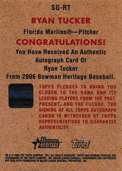 ライアン・タッカー 2006 Bowman Heritage Signs of Greatness /Ryan Tucker