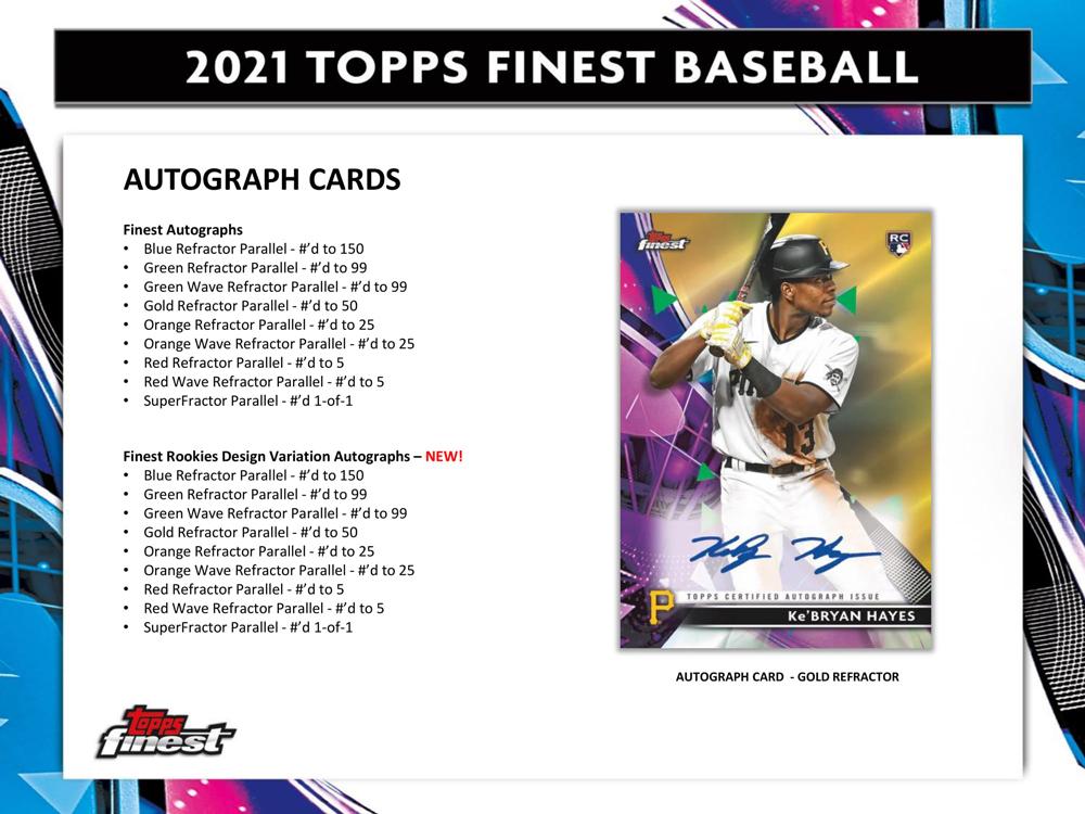 MLB 2021 Topps Finest Baseball 2021年、6/4入荷