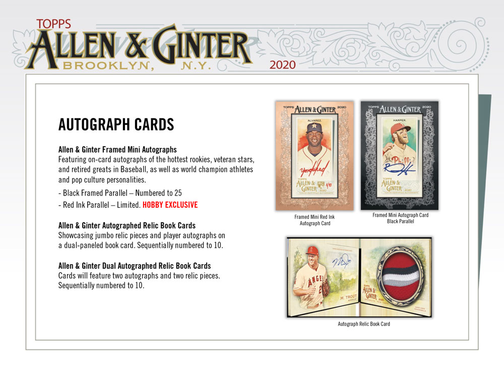 MLB 2020 Topps Allen & Ginter Baseball 9/16より発売中!