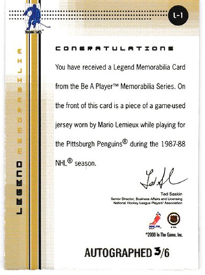Mario Lemieux 2000/01 BAP Memorabilia Mario Lemieux Legends Autographs 6枚限定!