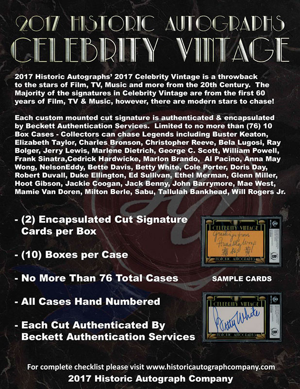 2017 Historic Autographs Celebrity Vintage ボックス(Box) 5/16入荷!