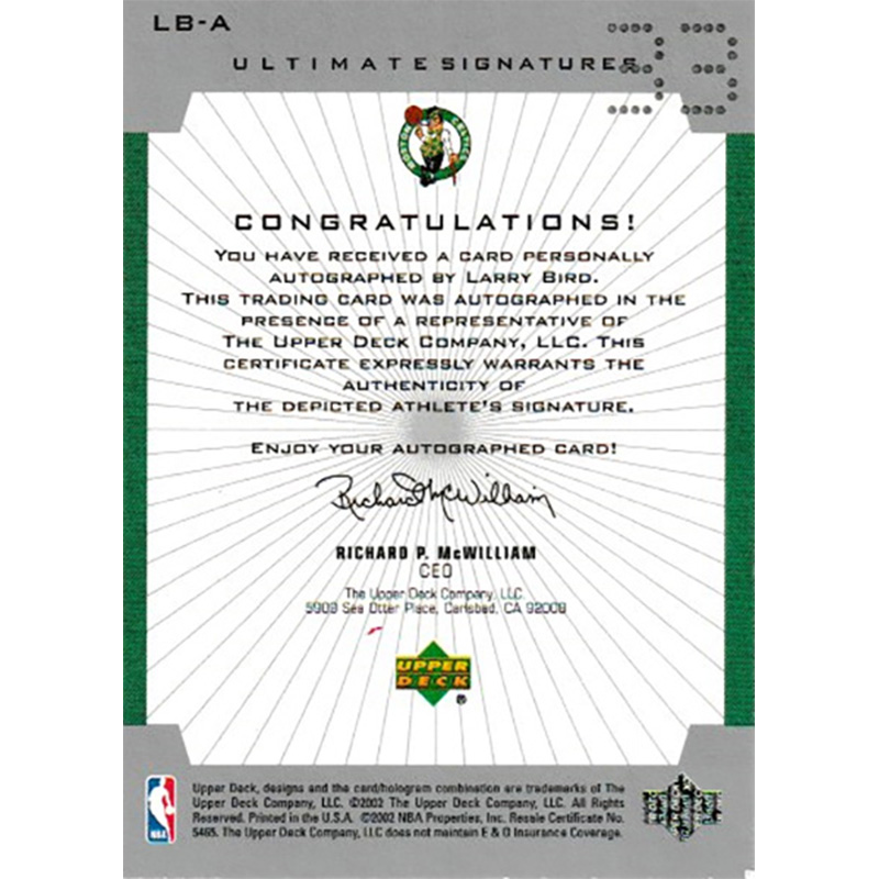 Larry Bird 2001/02 Ultimate Collection Signatures