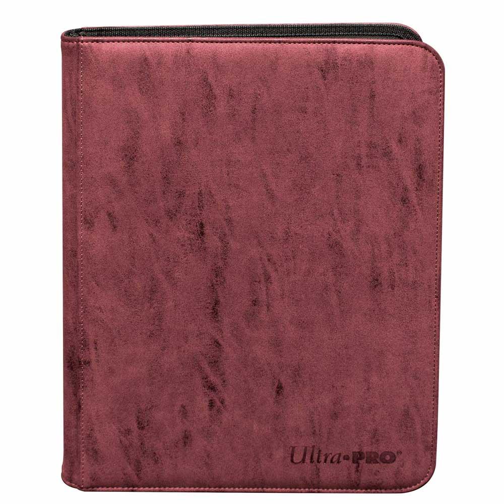 ウルトラプロ (Ultra Pro) スエードコレクション ジッパード9ポケット プレミアム プロ バインダー ルビー #85929 | Suede Collection Zippered 9-Pocket Premium PRO-Binder - Ruby