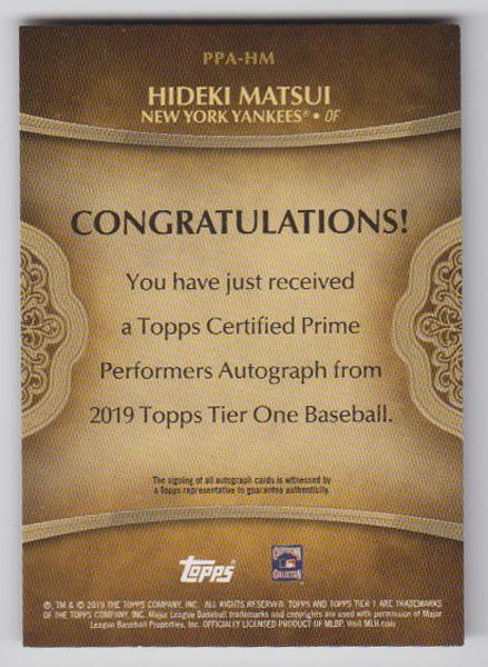 松井秀喜 MLBカード 2019 Topps Tier One Prime Performers Autographs 19/50