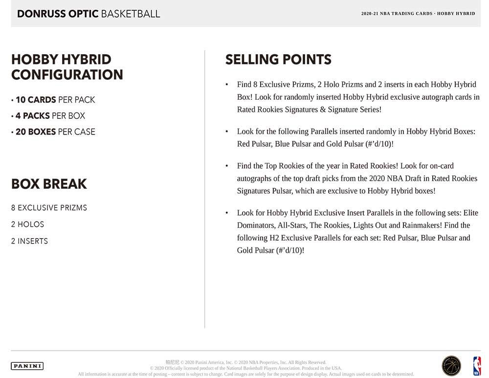 NBA 2020-21 Panini Donruss Optic Basketball H2  10/1入荷!