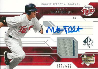 Matt Tolbert 2008 SP Authentic Rookie Autographs 699枚限定!(377/699) / マット トルバート