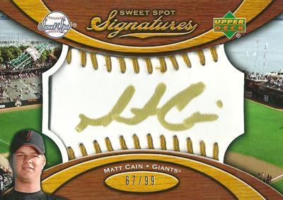 Matt Cain 2007 Sweet Spot Signatures Gold Stitch Gold Ink 99枚限定!(67/99) / マット ケイン