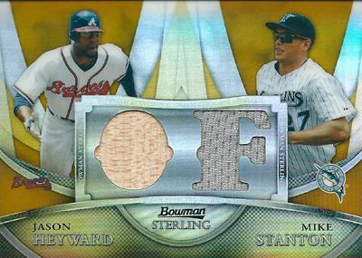 Jason Heyward / Mike Stanton 2010 Bowman Sterling Dual Relic Gold Refractors 50枚限定!(20/50) / ジェイソン ヘイワード / マイク スタントン